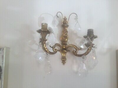 Gilt Bronze French Rococo double Candle Sconce Wall Light Crystal Droplets