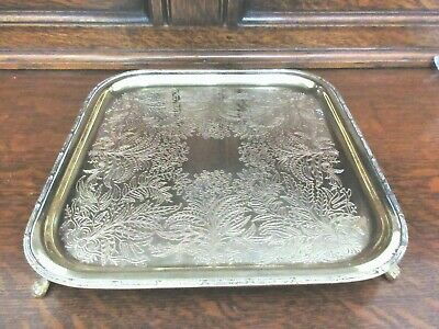Vtg Andrea By Sadek Paw Footed Ornate Square Solid Brass Serving Tray