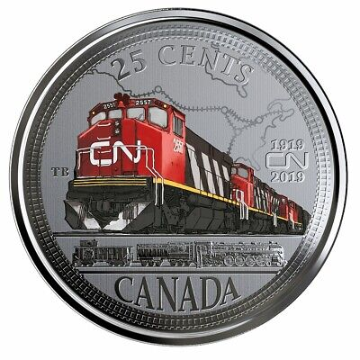 2019 Canada 25 cent CN Rail 100th anniversary coloured coin