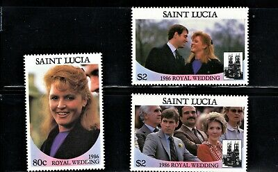 HICK GIRL STAMP- MH. ST. LUCIA STAMPS   SC#839a-40b    ROYAL WEDDING     P703