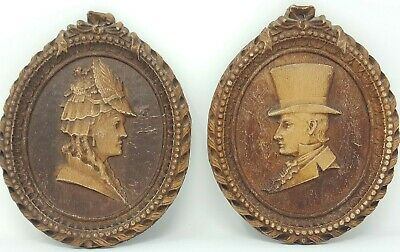 Vintage Pair Victorian Edwardian Man Woman Couple Silhouette Cameo Carvings