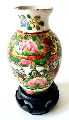 Very Rare Antique Quianlong Mark Miniature Porcelain Chinese Rose Famille Vase