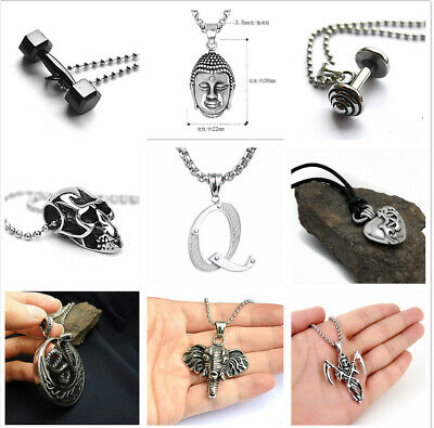 Hot Woman Man Retro Silver Heart Cobra Cross Letter 316L Stainless Steel Pendant