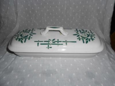 VINTAGE ART DECO Bathroom Razor-Toothbrush Dish & Lid EUROPEAN Green Design
