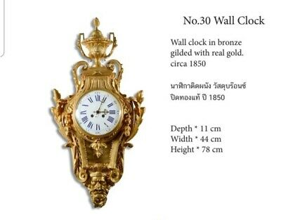Stunning Restored French Antique 19th Century Bronze Wall Clock Gold