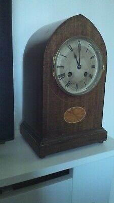 French Inlaid Lancet Mantle Clock gwo