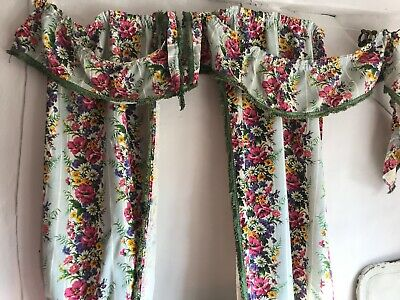 Vintage French Curtains & Pelmet Floral Cotton Barkcloth Fabric Blue Yellow Pink