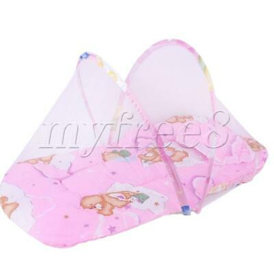 Newborn Thin Summer Mosquito Net Portable Folding Crib small pink