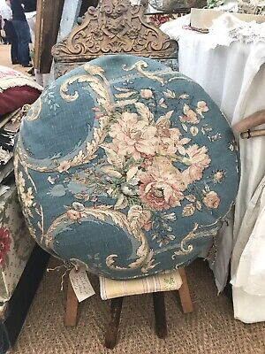 Vintage French Cushion, Round Armchair Pad Blue Floral Fabric /Chateau Chic Fun!
