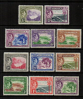 Dominica 1938/47 KGVI Definitives to 2/- (11 Stamps) - SG 99 to 106a - MM