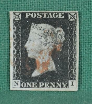 GB STAMP VICTORIA 1d PENNY BLACK PLATE 2 USED   (K2)