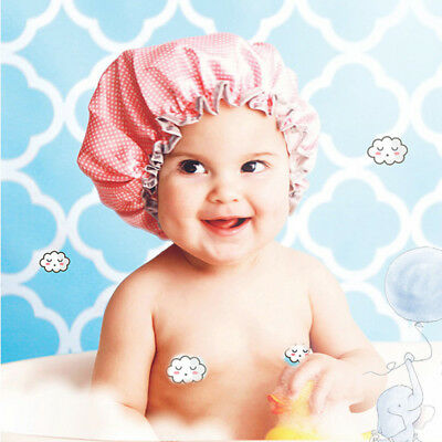 Infant Shower Cap Double Layer Waterproof Polka Dot  Wash Hairs Cover Bath Hats