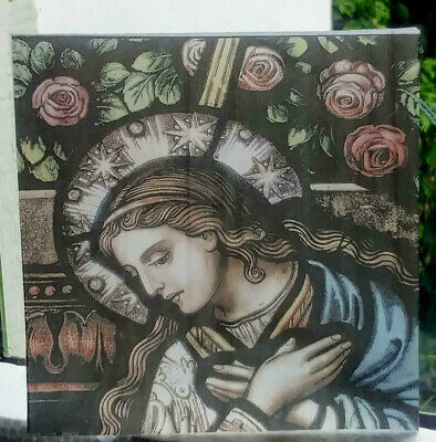 "Stained Glass  ""Lady""  Kiln fired.transfer piece semi translucent pre-raphaelite"