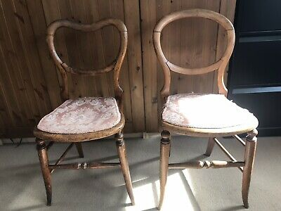 Pair Of Antique Dining/Study Wooden Chairs