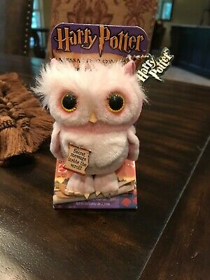 """2001 Harry Potter Messaging Owl Plush Owl 4"""" with Chain and Tag on Card NEW"""