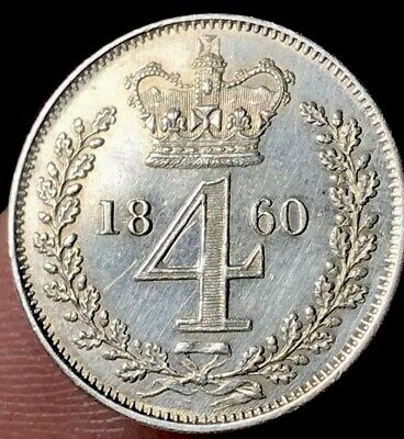 1860 Maundy Fourpence, About Uncirculated And Scarce