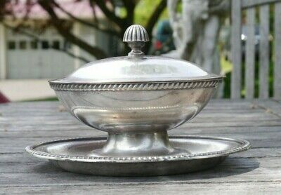 Vintage US Navy International Silver soldered Gravy Boat attached underplate lid
