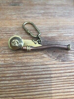 Copper Brass Boatswain Pipe Key Chain~Nautical Marine Bosun Whistle Keychain