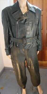 Vintage Men's Green Leather Two Piece (Military?) Suit – Excellent Condition