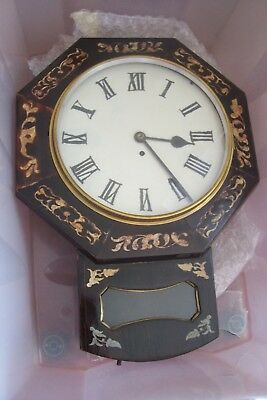 Antique English Drop Dial Wall Clock Fusee Movement 12 Inch Dial 23 Inches Long