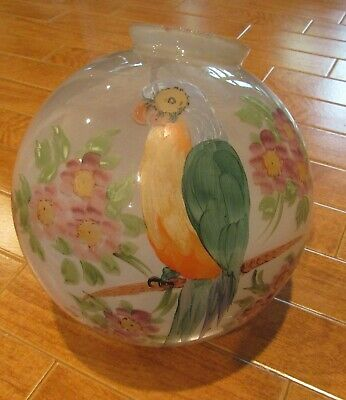 """Vintage Hand Painted Parrot Floral Globe Shade for Swag Lamp or Ceiling 10"""" dia."""