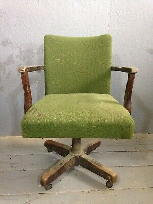 1940s Office Swivel Chair Art Deco Vintage Steel Wooden *castor Missing