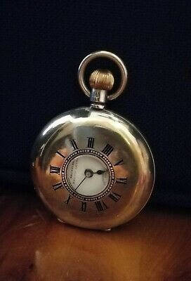 Antique Fob Pocket Watch Half Hunter Solid Sliver(non-working).But easy repair.