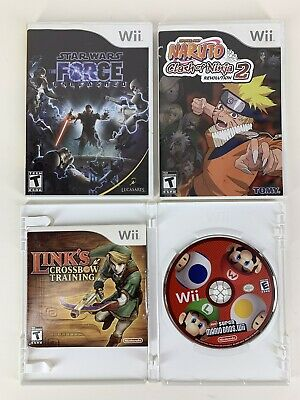 Nintendo Wii Game Lot Super Mario Bros, Links Crossbow , Naruo2, Star Wars