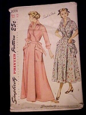 1949 Simplicity Lady's 1-Pc Wrap-Around Housecoat or Brunch Coat, 3014