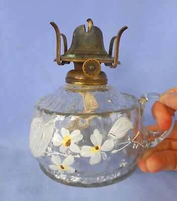 Antique   Victorian Decorated  Glass Attic/Cellar/Yard ~  Hand Held Oil Lamp  !