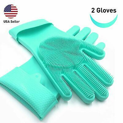 Magic Silicone Gloves Wash Scrubber Dishes Hand Cleaning Reusable Long Bristles