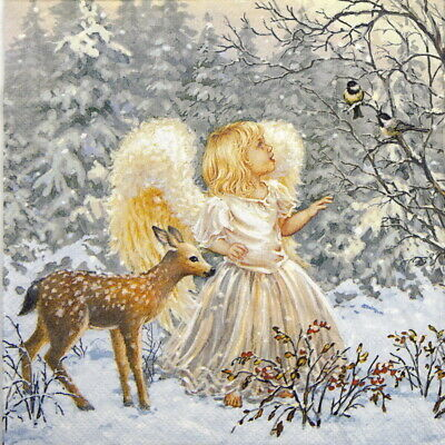 4x Paper Napkins for Decoupage Craft, Party - Winter Angel