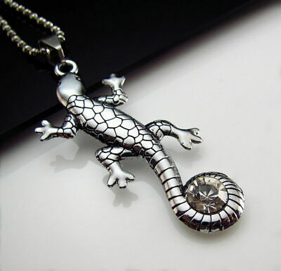 Unisex's Chain Lizard Crystal Silver Titanium Necklace steel Cool Pendant Gift