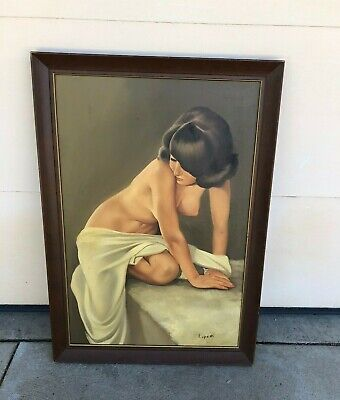 1960's 70's MCM Large Naked Nude Lady Signed and Framed Painting LUPETTI
