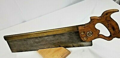 "BEAUTIFUL BRASS BACK Tenon-Dovetail-Saw-14"" Long 14 tpi.MAKER; HENRY DISSTON USA"