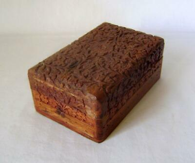 Carved Decorated Domed Top Teak Wood Box:  ex - Past Times Spice Chest
