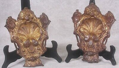 Pair French Brass Baroque Rococo Gilded Ormolu Molded Scallop Shell Hook Covers
