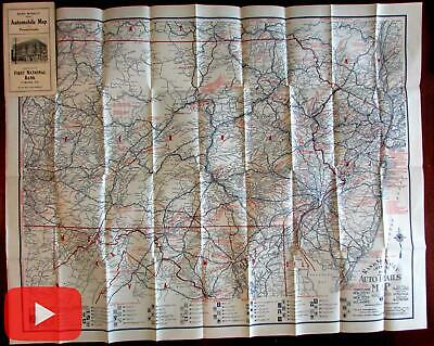 Automobile road map Pennsylvania 1922 Tyrone First national Bank huge symbols