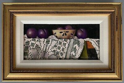 Original Oil Painting Still Life Fruit Plums on Lace Table Signed Framed 10x15