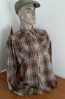 Retro 70's  Ever Smart Plaid Checked Western L/S Shirt with Press Studs Size M-L