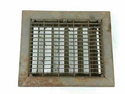 "Vintage Metal Heat Register Grate Vent w/ Louvers 8"" x 10"" Rectangle"
