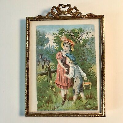 """Antique French Victorian Standing Picture Frame - Gilded Brass,5 by 3 1/2"""""""