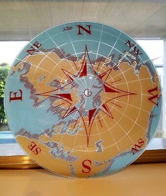 Rare Vintage Nautical World Map & Compass Glass Ceiling Light Fixture/Shade