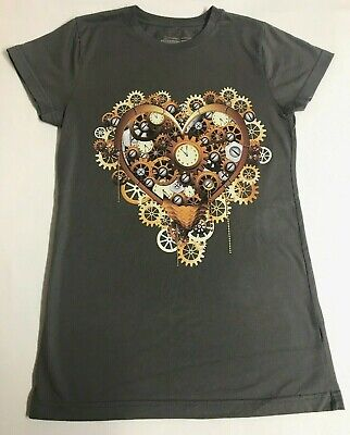 Design by Humans T-Shirt Women Juniors size L Clock Graphic Empowering Artists