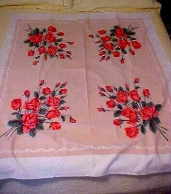 Vintage Printed Tablecloth w/ Pink Roses on Pink Background