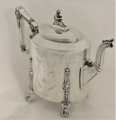C1869 Victorian Aesthetic Silver Plate Figural Lion Face Egyptian Revival Teapot
