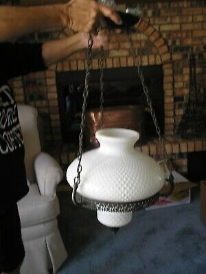 Vintage Oil Lamp Style Farmhouse Electric Hanging Light Fixture Hobnail