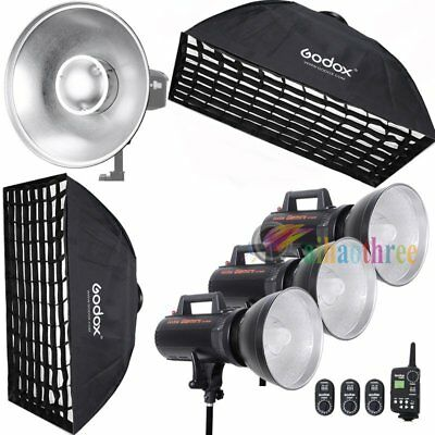 3Pcs Godox GT-300 3x300W High Speed Strobe Flash Light + Trigger + Softbox +Dish