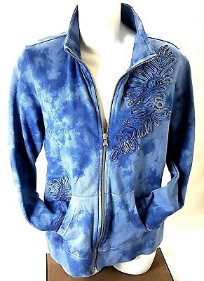 Style & Co Womens Jacket Long Sleeve Thick Embroidery Beaded Blue Size M