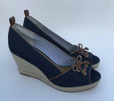 5be809c7f25 NEW BASS WEDGE Espadrilles Kaitlyn Blue Striped Shoes Heels Slip-ons ...